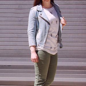 GAP Jackets & Coats - Gap 3/4 Sleeve Denim Moto Jacket Size XS