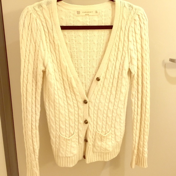67% off Zara Sweaters - Cream Colored Cable Knit Sweater from ...