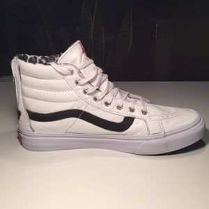 Furgonetas Sk8 De Cuero Y Zapatos De Leopardo Postales Blancas Delgadas Hi hjKgocy