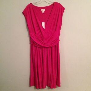 Loft hot pink knit dress