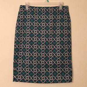 J. Crew Skirts - J.Crew Green Medallion Print Pencil Skirt Sz 4