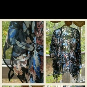 Other - Floral Kimono with Fringe...one size