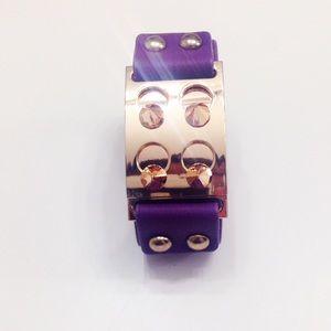 Purple & Gold Spiked Cuff