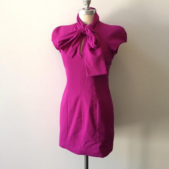 BB Dakota Dresses & Skirts - ❌SOLD❌BB Dakota magenta tie-neck mini shift dress