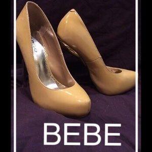 SALE!! BEBE Tan & Gold Stiletto Heel