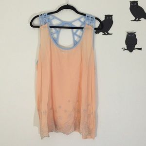 Mine Too semi sheer sherbet orange floral tank 1xl