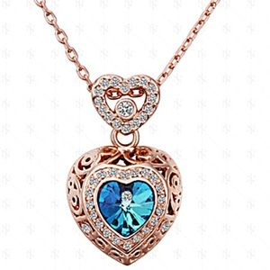 Jewelry - 18K Rose Gold Blue Crystal Necklace