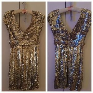 Jovani gold sequin dress