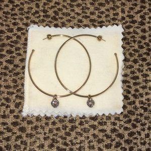 Juicy Couture Gold Tone Pave Hoop Earrings