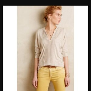 Oatmeal Anthropologie front pleated top
