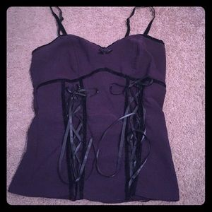 Black Orchid Tops - Purple corset top gothic