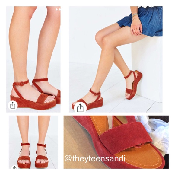 Urban Outfitters Rust Suede Paige Platform Sandals