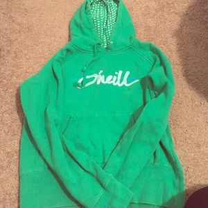 O'Neill Tops - Green O'neill hoodie with hearts in hood