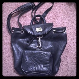 Handbags - Mini Black Leather Backpack