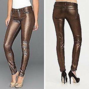 7 for all Mankind Jeans - 7FAM The Skinny Jean in Liquid Metallic Copper