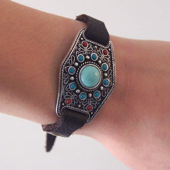 Lucky Brand silver and leather bracelet