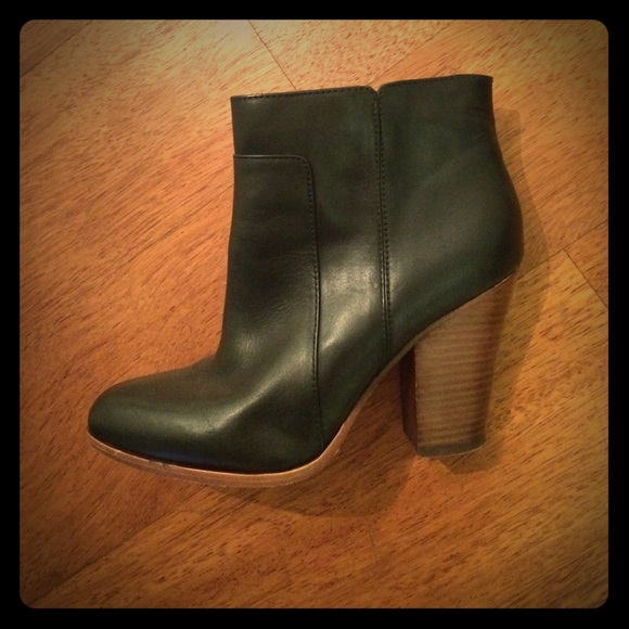 Black Leather Booties W Wood Heel Effect