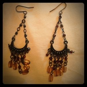 Gorgeous amber color chandelier earrings