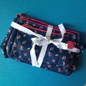 Sloane Ranger Handbags - Sloane Ranger Navy Floral 3-Pack Cosmetic Set BNWT