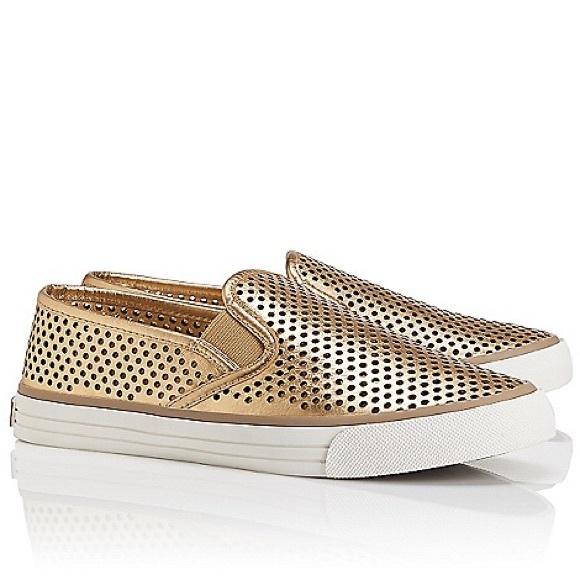 0951575c70e1 NIB Tory Burch Miles Perforated Sneaker Gold