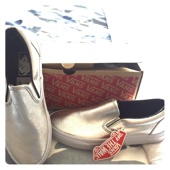 fa676cc0df6 Vans Classic slip-on metallic leather silver 8