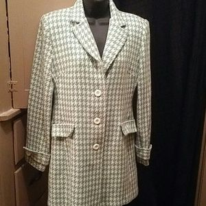 Seafoam green and white checkere.d trench coat