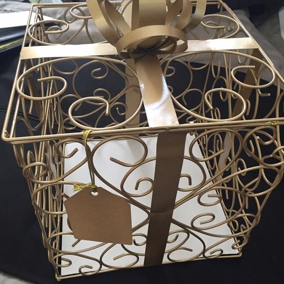 Gold Metal Scroll Wedding Gift Card Box