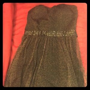 New Leopard and Sequin Strapless Dress