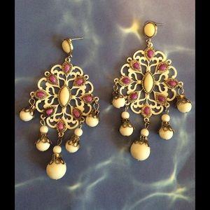 Jewelry - Bohemian white purple beaded huge big  earrings