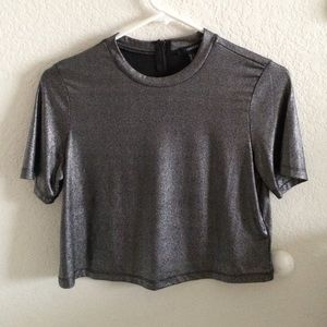 Silver smooth crop top