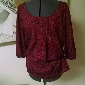 Loft red and purple patterned blouse