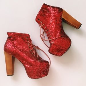 Jeffrey Campbell Shoes - Authentic Jeffrey Campbell Red Glitter Litas