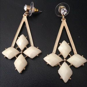 Gold Tone/Cream Ivory Acrylic Dangle Post Earring