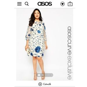 ASOS CURVE Embroidered Shift Dress