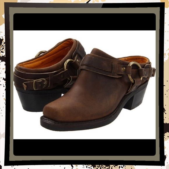 Frye Harness Mules Slip On Boots Tan