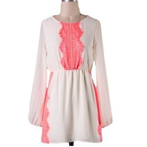 Ivory and Neon Coral Dress