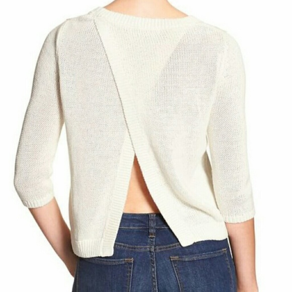 Banana Republic - cross open back knit top sweater cream white ...