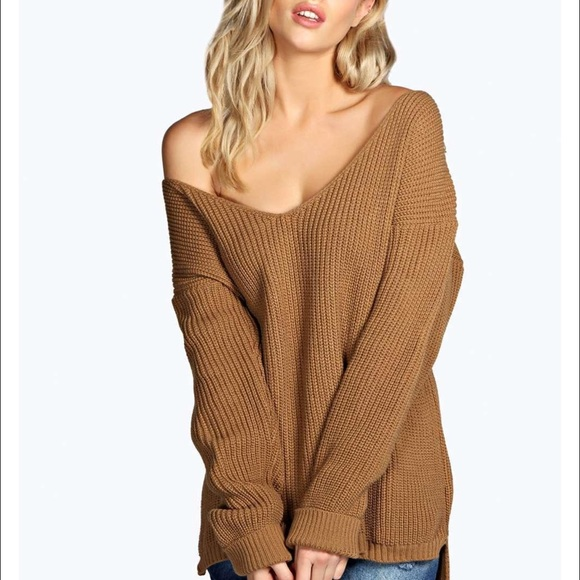 13b99c6ff371 Boohoo Sweaters | Oversized V Neck Sweater Beige Camel Sm | Poshmark