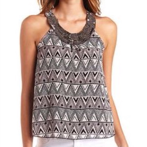 Charlotte Russe Tops - NWT Charolette Russe: Sz Large Tribal Beaded Tank