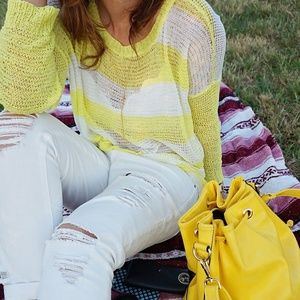 Tops - White And Yellow Stripped Top