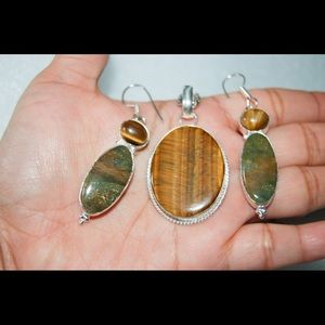 Tiger Eye,Jasper Pendant & Earrings Set 925 Silver