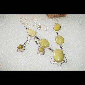 handmade & handcrafted gemstone jewelry Jewelry - Lime Green Jasper Statement Set Necklace&Earrings