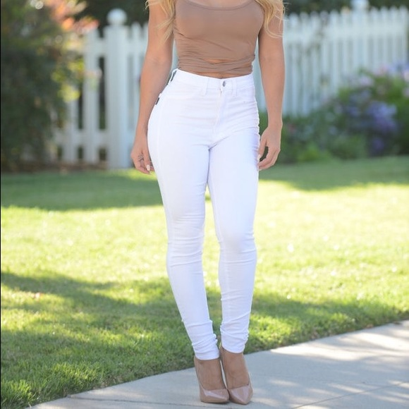 High waisted white jeans size 10