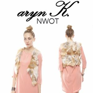 NEW ARYN K cropped real fur vest