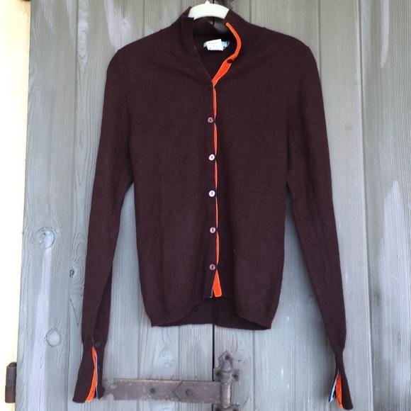 90% off Sweaters - Gorgeous chocolate cashmere cardigan- orange ...