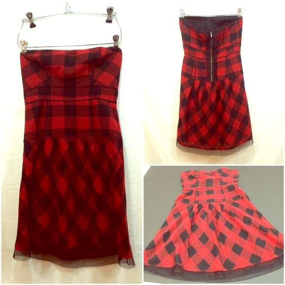 American Eagle Outfitters Dresses Red And Black Plaid