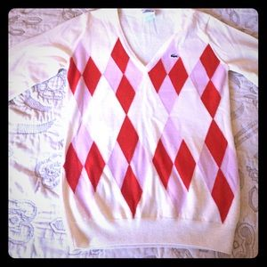 Lacoste cream, red and pink argyle sweater.