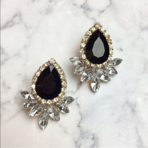 Jewelry - Gold crystals black sparkle statement earrings