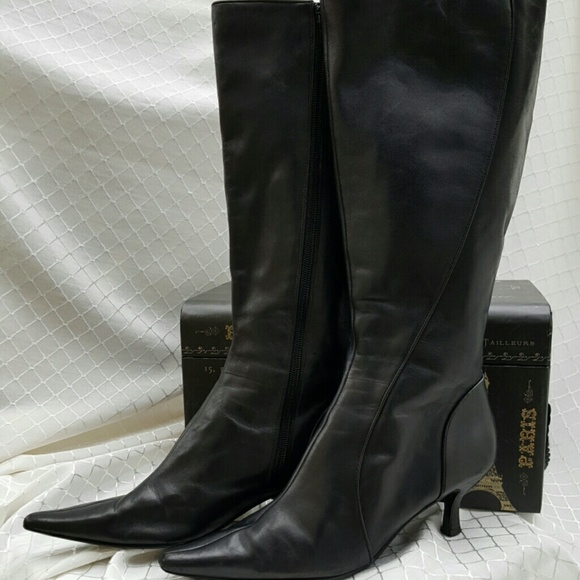 Bandolino - BANDOLINO Black Leather Boots w/Kitten Heel from