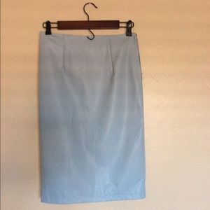 Baby Blue Pencil Skirt | PU | Fully Lined | Size 2